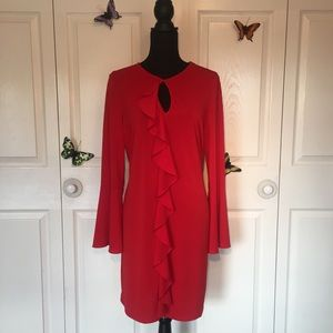 💼 Red Hot Ruffle Dress with Flutter Sleeves